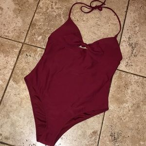 2for 20 F21 Burgandy One Piece Swimsuit